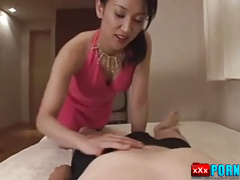 Uncensored Japanese blowjob with swallow.