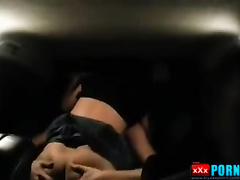 Cuckold husband drives the car and his slut sexwife fucks with a stranger man on backseat of car