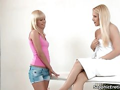 Sexy blonde lesbians gets her body rubbed and licked during a massage