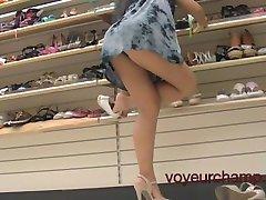 My Wife Panty & Shoe Shopping Upskirt!