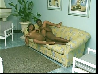 Young black couple strips and fucks on a couch