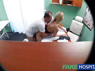 FakeHospital New nurse takes double cumshot from horny Dr