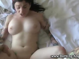 Tattooed goth cummed on