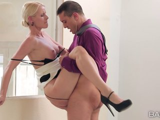 Stunning blonde secretary and her boss have hot office sex
