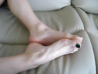 Tanya's green toenails, foot tease, foot fetish