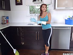 The Latina maid cleans the house nude then gets fucked