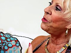 Blonde granny with big tits likes fucking and sucking virile guys